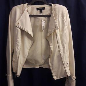 Cream Faux Leather Moto Jacket